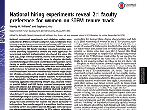 National Hiring Experiments: Preference for Women | 2015