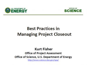 Best Practices in Managing Project Closeout | 2015