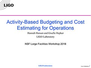 Activity Based Budgeting and Cost Estimating | 2018