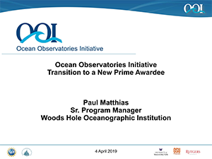 Ocean Observatories Initiative, Transition to a New Prime Awardee   2019