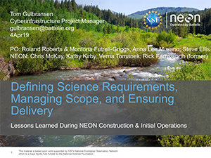 Defining Science Requirements, Managing Scope, & Ensuring Delivery | 2019