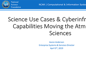 Cyberinfrastructure Science Use Cases | 2019